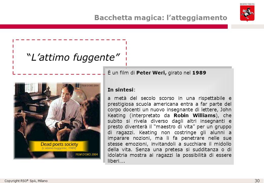 """Copyright RSO ® SpA, Milano 30 Bacchetta magica: l'atteggiamento """"L'attimo fuggente"""" È un film di Peter Weri, girato nel 1989 In sintesi: a metà del s"""