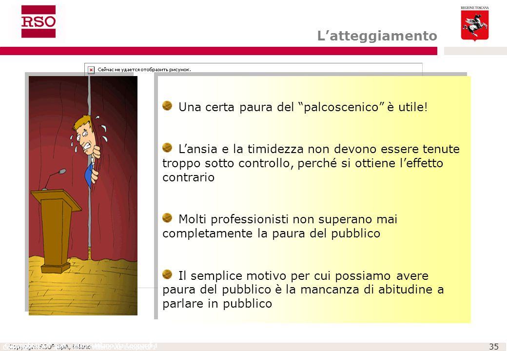 """Copyright RSO ® SpA, Milano 35 Copyright RSO ® SpA – 20123 Milano Via Leopardi 1 Una certa paura del """"palcoscenico"""" è utile! L'ansia e la timidezza no"""