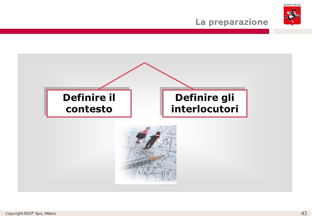 Copyright RSO ® SpA, Milano 43 Definire il contesto Definire gli interlocutori La preparazione