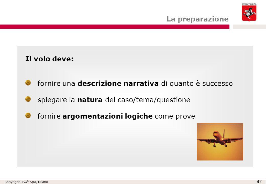Copyright RSO ® SpA, Milano 47 La preparazione Il volo deve: fornire una descrizione narrativa di quanto è successo spiegare la natura del caso/tema/q