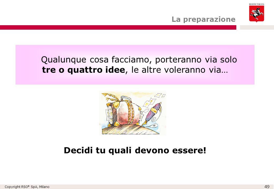 Copyright RSO ® SpA, Milano 49 Qualunque cosa facciamo, porteranno via solo tre o quattro idee, le altre voleranno via… Decidi tu quali devono essere!