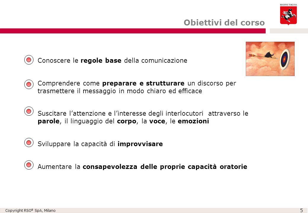 Copyright RSO ® SpA, Milano 5 Obiettivi del corso Conoscere le regole base della comunicazione Comprendere come preparare e strutturare un discorso pe