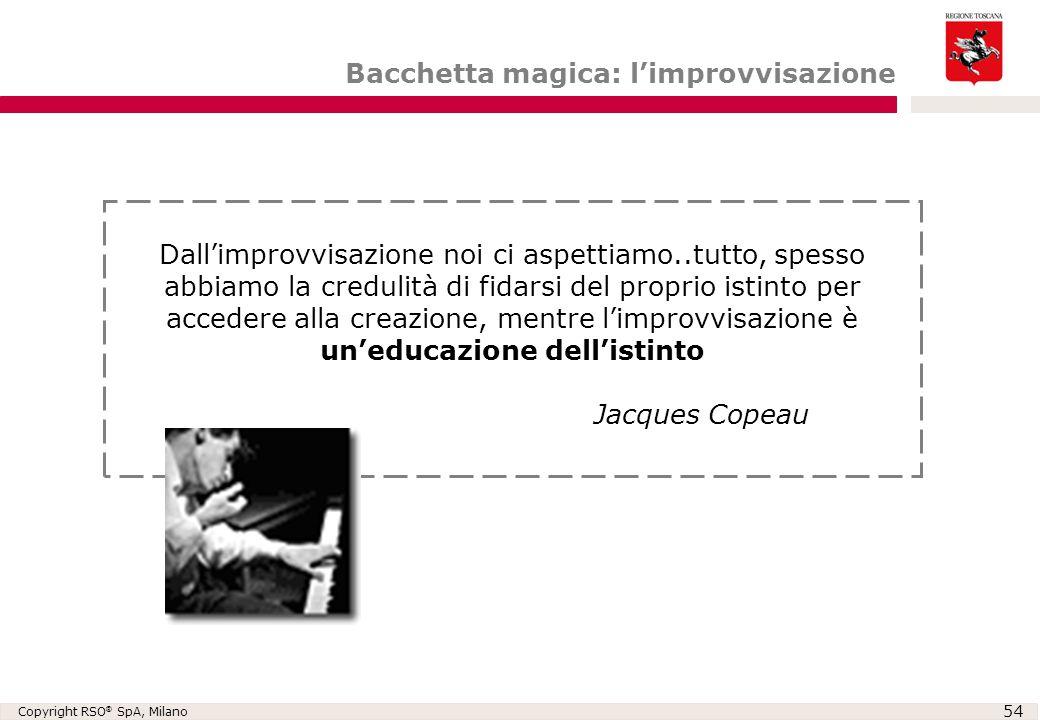 Copyright RSO ® SpA, Milano 54 Bacchetta magica: l'improvvisazione Dall'improvvisazione noi ci aspettiamo..tutto, spesso abbiamo la credulità di fidar