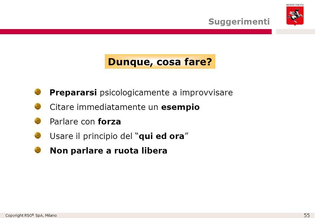 """Copyright RSO ® SpA, Milano 55 Prepararsi psicologicamente a improvvisare Citare immediatamente un esempio Parlare con forza Usare il principio del """"q"""