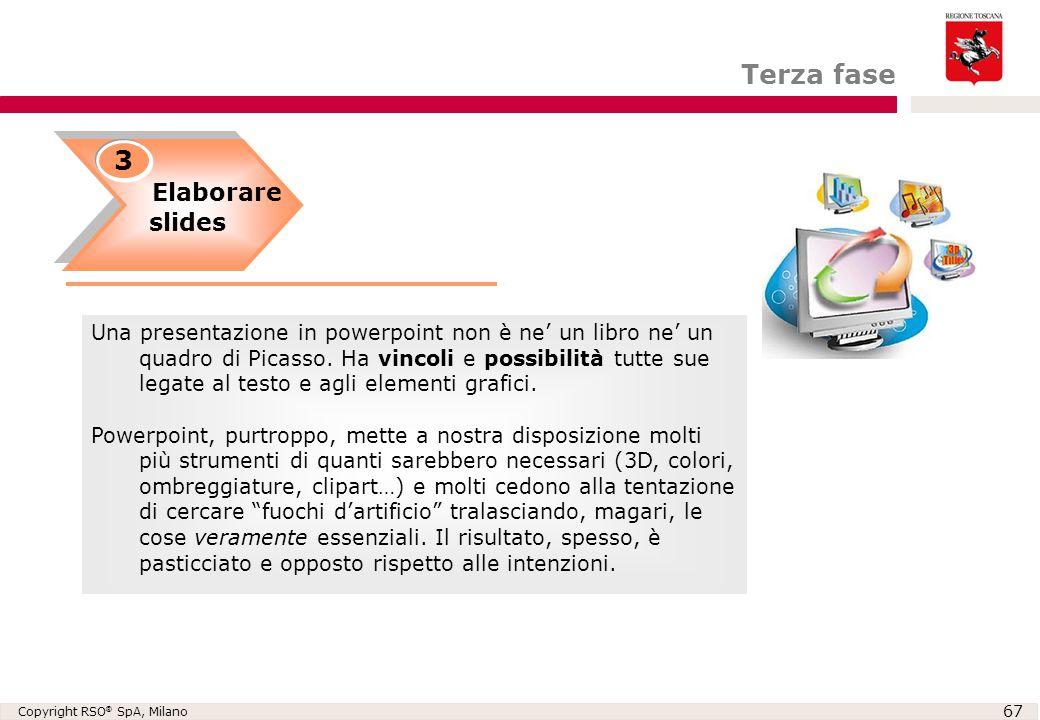 Copyright RSO ® SpA, Milano 67 Elaborare slides Elaborare slides 3 Una presentazione in powerpoint non è ne' un libro ne' un quadro di Picasso. Ha vin