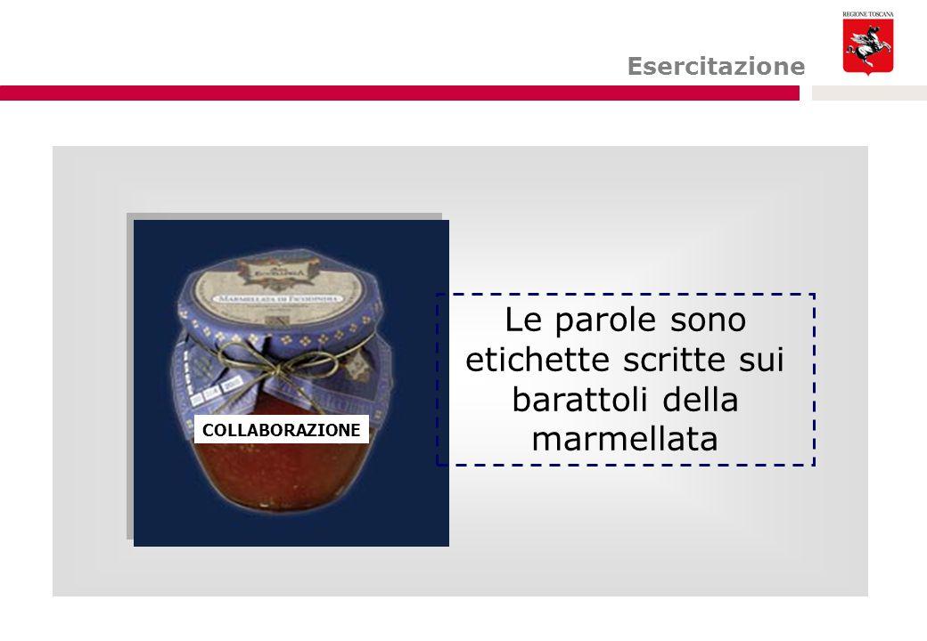 Esercitazione COLLABORAZIONE Le parole sono etichette scritte sui barattoli della marmellata