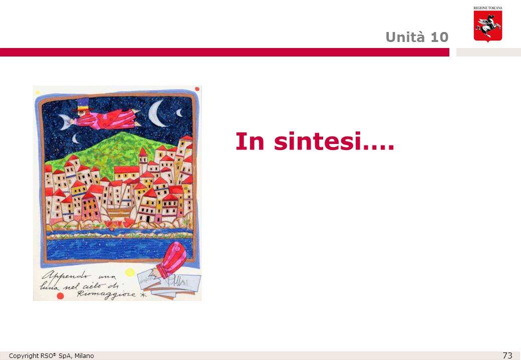 Copyright RSO ® SpA, Milano 73 In sintesi…. Unità 10