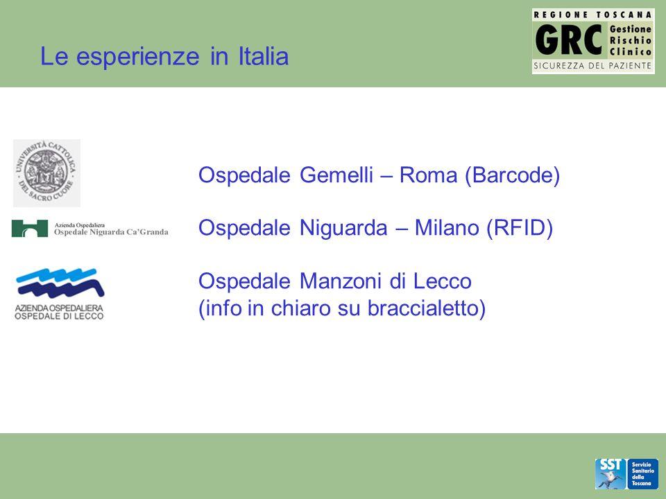 Le esperienze in Italia Ospedale Gemelli – Roma (Barcode) Ospedale Niguarda – Milano (RFID) Ospedale Manzoni di Lecco (info in chiaro su braccialetto)