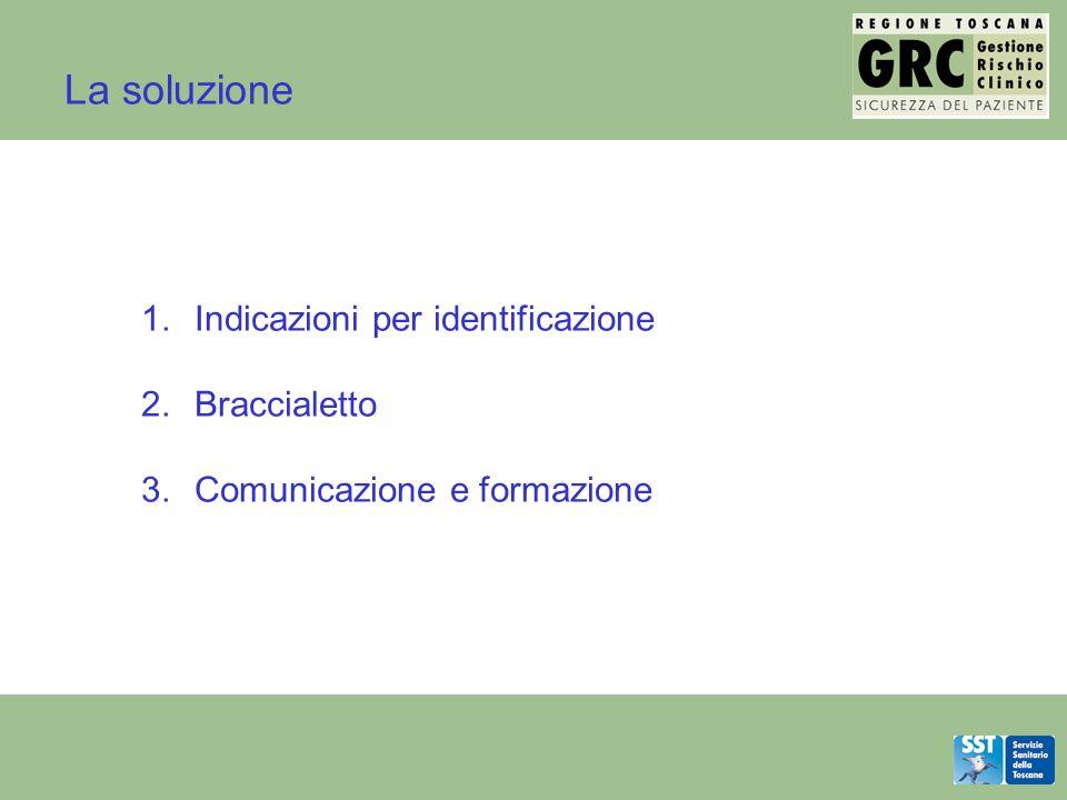 La soluzione 1.Indicazioni per identificazione 2.Braccialetto 3.Comunicazione e formazione