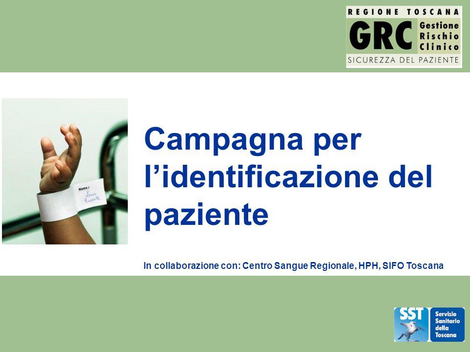 La campagna GRC Identificazione paziente Strumenti e procedure per la corretta identificazione del paziente Accoglienza di pazienti a rischio Errori di trasfusione