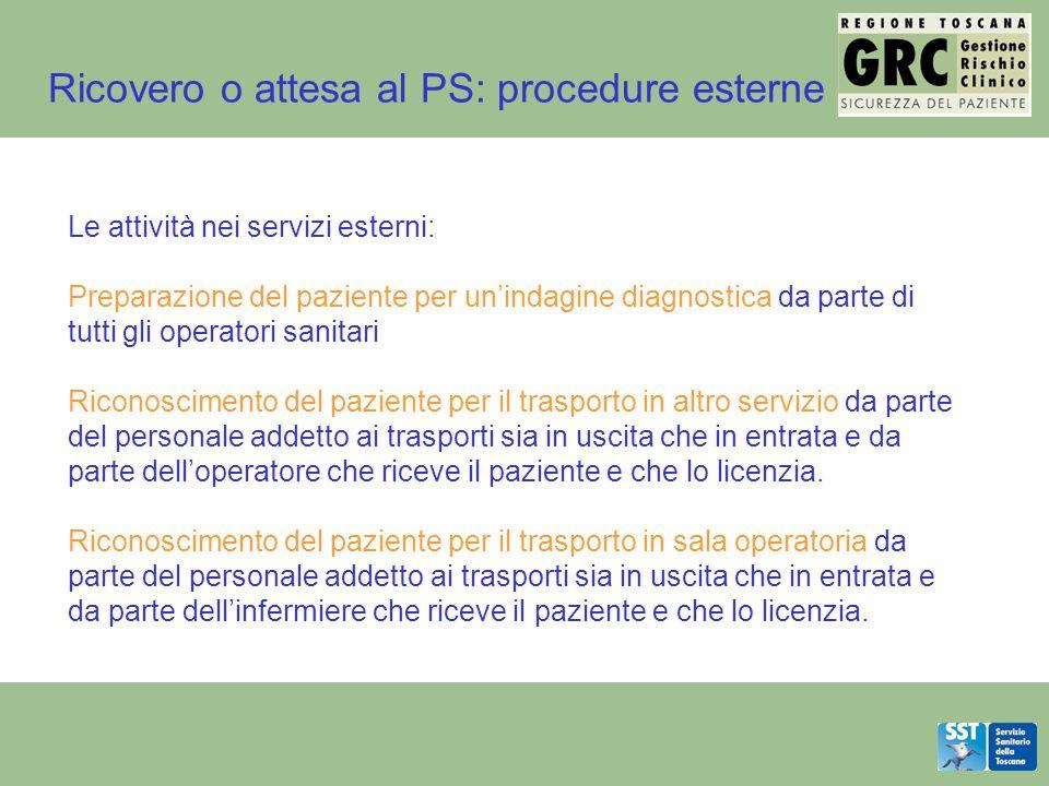 Le attività nei servizi esterni: Preparazione del paziente per un'indagine diagnostica da parte di tutti gli operatori sanitari Riconoscimento del paz
