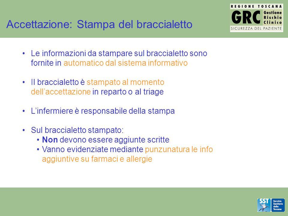Accettazione: Stampa del braccialetto Le informazioni da stampare sul braccialetto sono fornite in automatico dal sistema informativo Il braccialetto