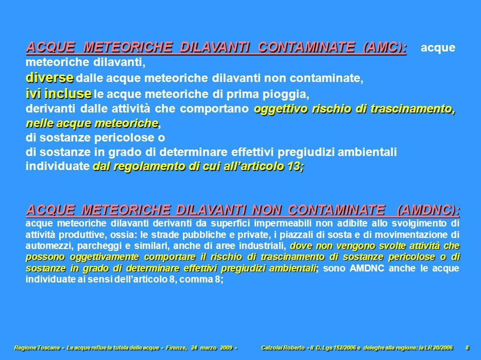 ACQUE METEORICHE DILAVANTI NON CONTAMINATE (AMDNC): dove non vengono svolte attività che possono oggettivamente comportare il rischio di trascinamento