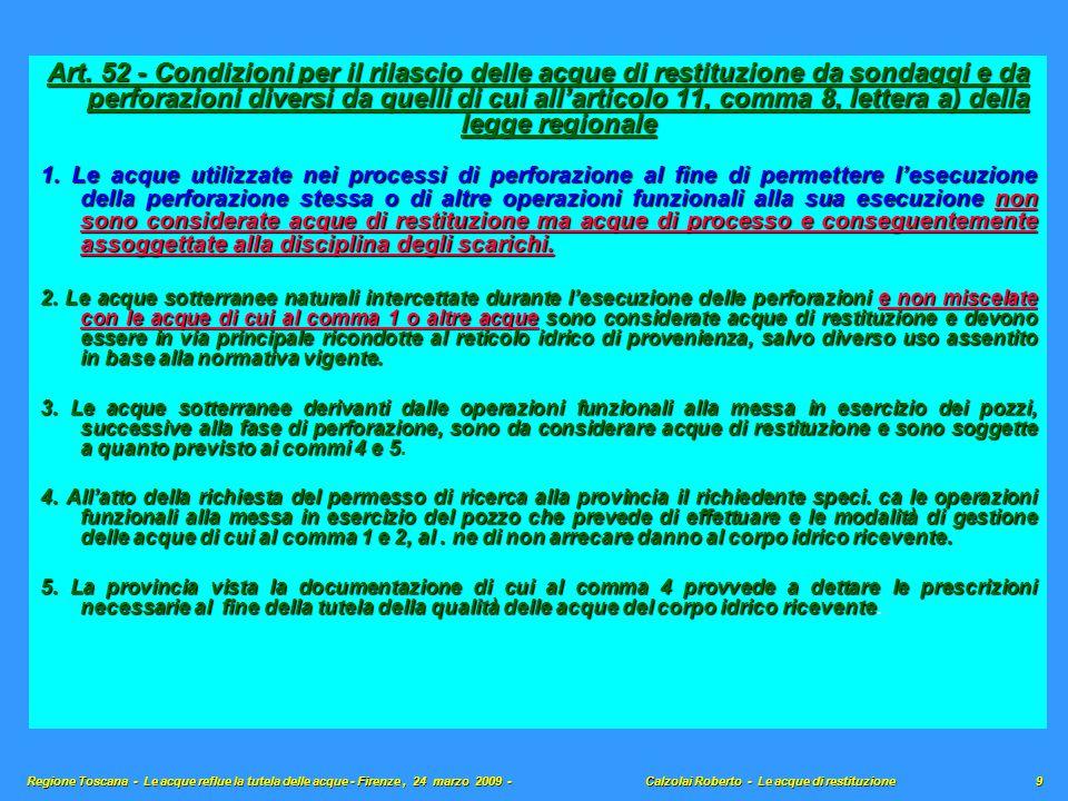 Art. 52 - Condizioni per il rilascio delle acque di restituzione da sondaggi e da perforazioni diversi da quelli di cui all'articolo 11, comma 8, lett