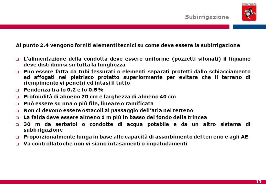 12 Subirrigazione Al punto 2.4 vengono forniti elementi tecnici su come deve essere la subirrigazione  L'alimentazione della condotta deve essere uni
