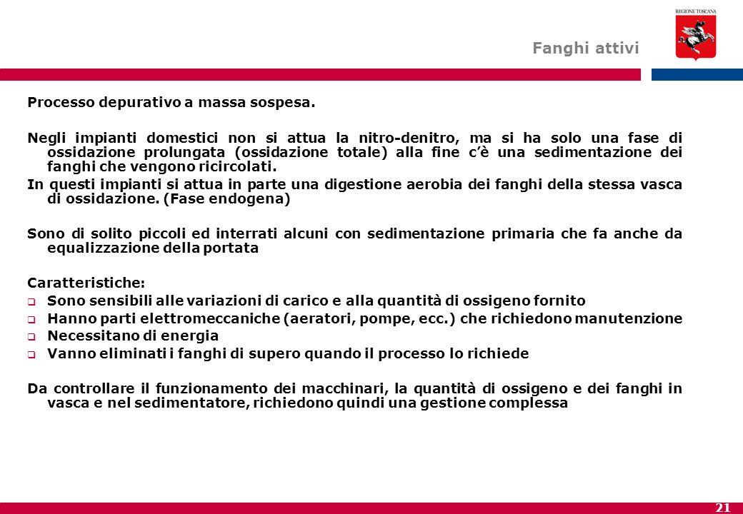 21 Fanghi attivi Processo depurativo a massa sospesa. Negli impianti domestici non si attua la nitro-denitro, ma si ha solo una fase di ossidazione pr