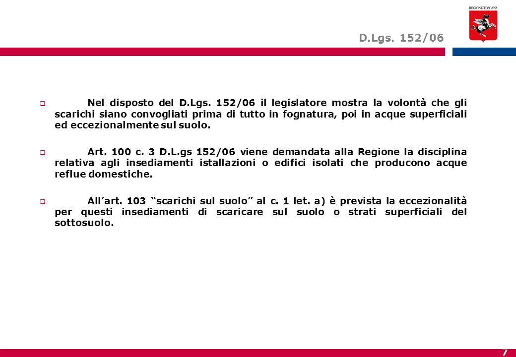7 D.Lgs. 152/06  Nel disposto del D.Lgs. 152/06 il legislatore mostra la volontà che gli scarichi siano convogliati prima di tutto in fognatura, poi