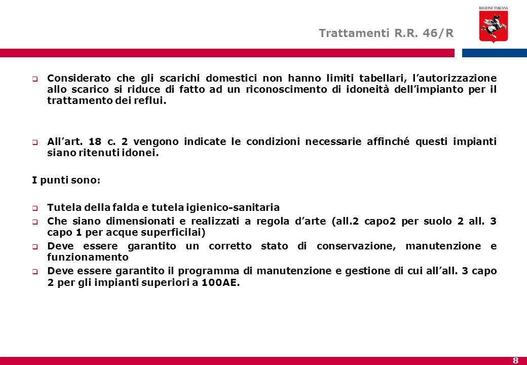 8 Trattamenti R.R. 46/R  Considerato che gli scarichi domestici non hanno limiti tabellari, l'autorizzazione allo scarico si riduce di fatto ad un ri