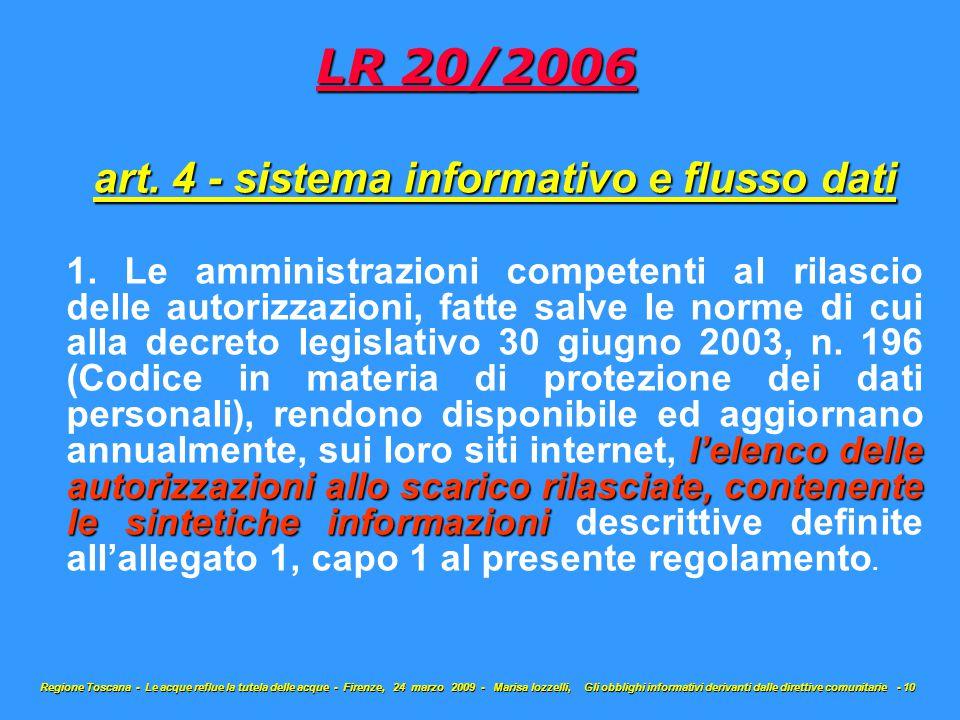 art. 4 - sistema informativo e flusso dati l'elenco delle autorizzazioni allo scarico rilasciate, contenente le sintetiche informazioni 1. Le amminist