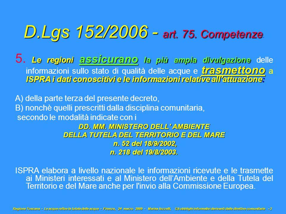 D.Lgs 152/2006 - art. 75. Competenze D.Lgs 152/2006 - art.