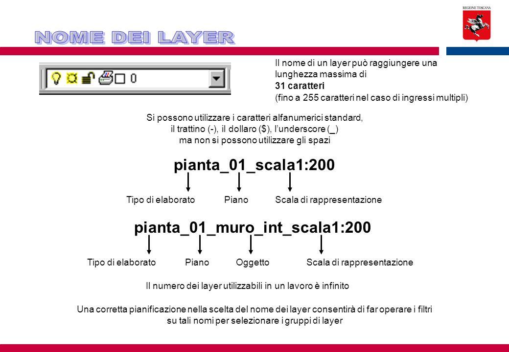 Il nome di un layer può raggiungere una lunghezza massima di 31 caratteri (fino a 255 caratteri nel caso di ingressi multipli) Si possono utilizzare i