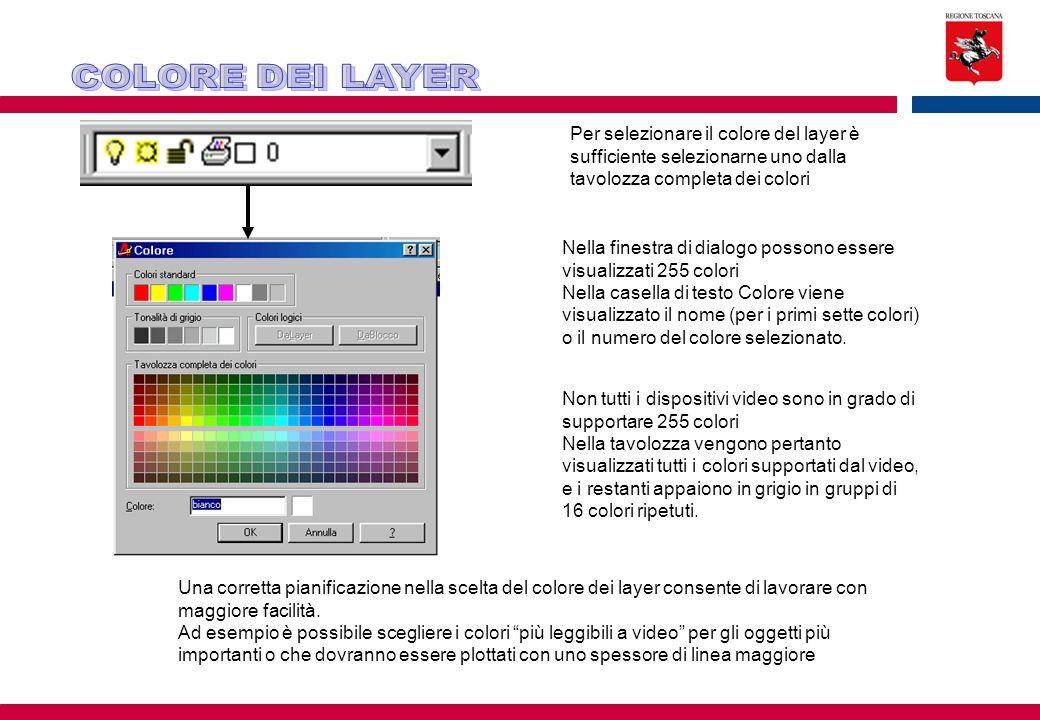 Per selezionare il colore del layer è sufficiente selezionarne uno dalla tavolozza completa dei colori Nella finestra di dialogo possono essere visual