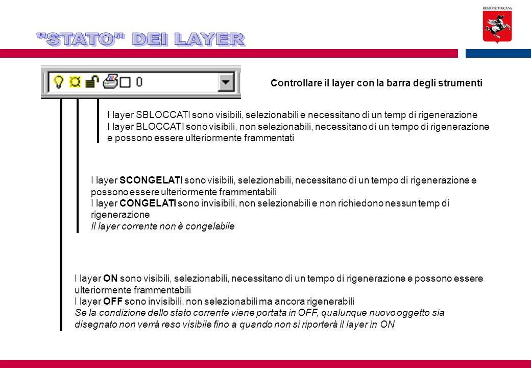 Controllare il layer con la barra degli strumenti I layer SBLOCCATI sono visibili, selezionabili e necessitano di un temp di rigenerazione I layer BLO