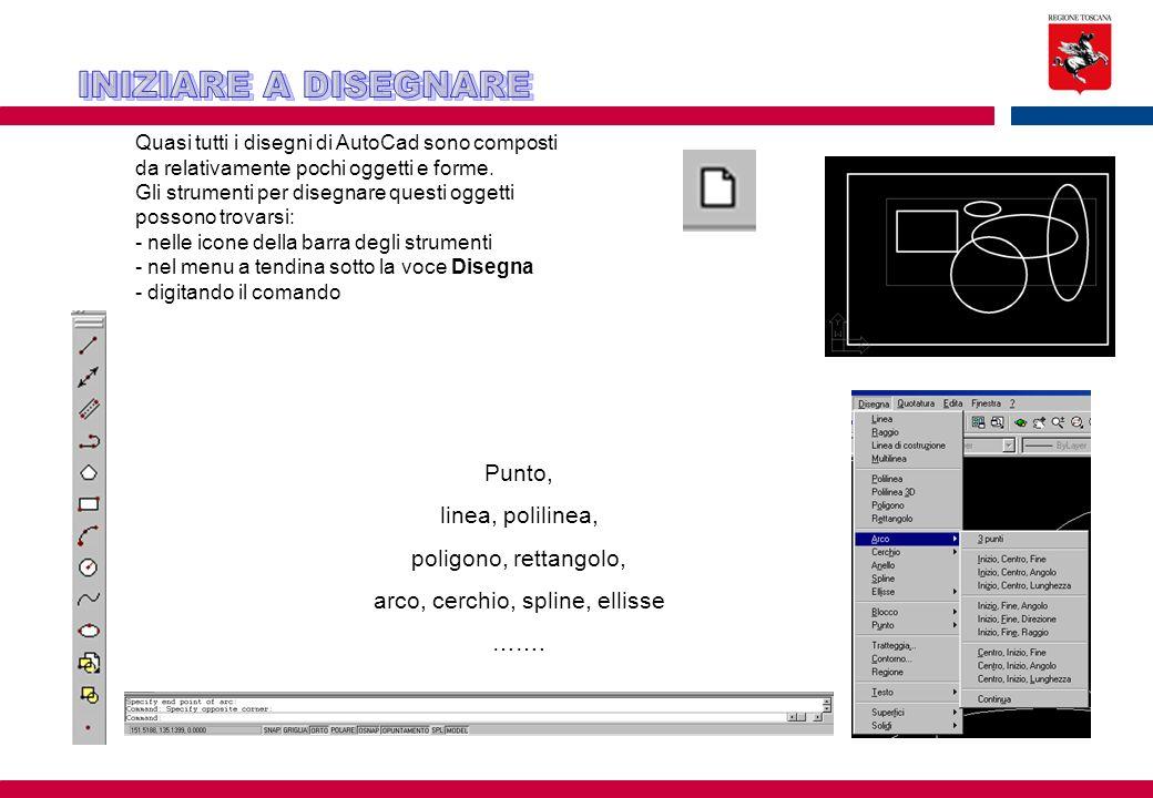 Quasi tutti i disegni di AutoCad sono composti da relativamente pochi oggetti e forme. Gli strumenti per disegnare questi oggetti possono trovarsi: -