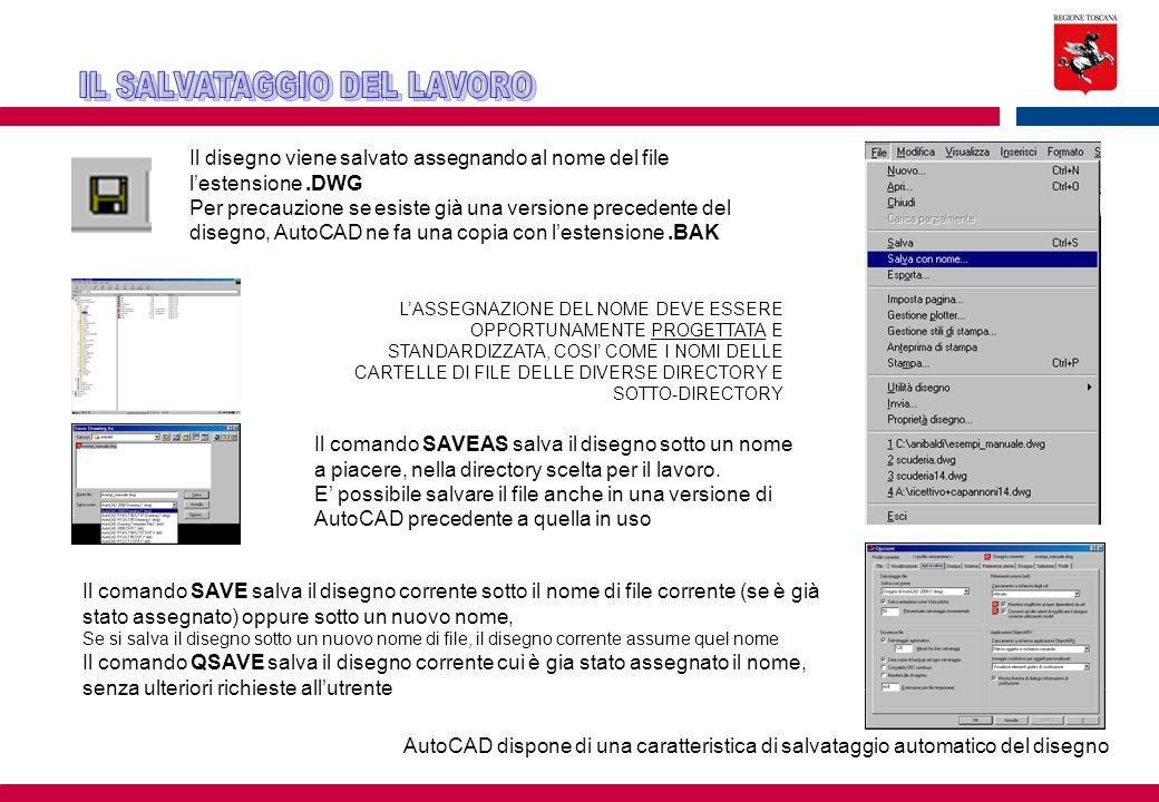 Il disegno viene salvato assegnando al nome del file l'estensione.DWG Per precauzione se esiste già una versione precedente del disegno, AutoCAD ne fa