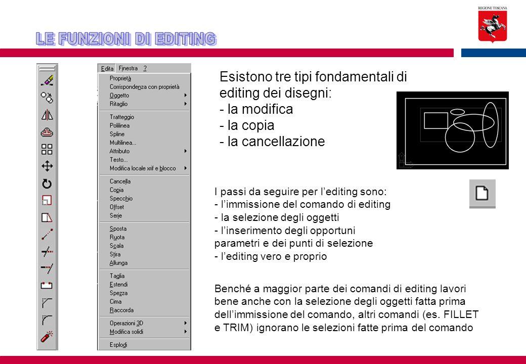 Esistono tre tipi fondamentali di editing dei disegni: - la modifica - la copia - la cancellazione I passi da seguire per l'editing sono: - l'immissio