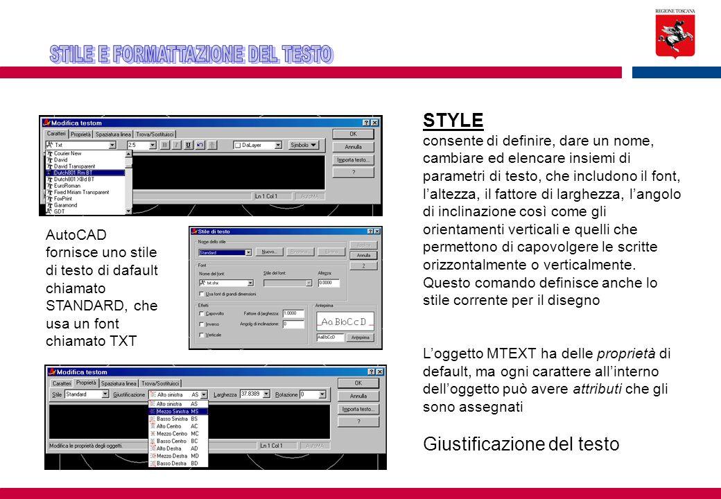 AutoCAD fornisce uno stile di testo di dafault chiamato STANDARD, che usa un font chiamato TXT STYLE consente di definire, dare un nome, cambiare ed e