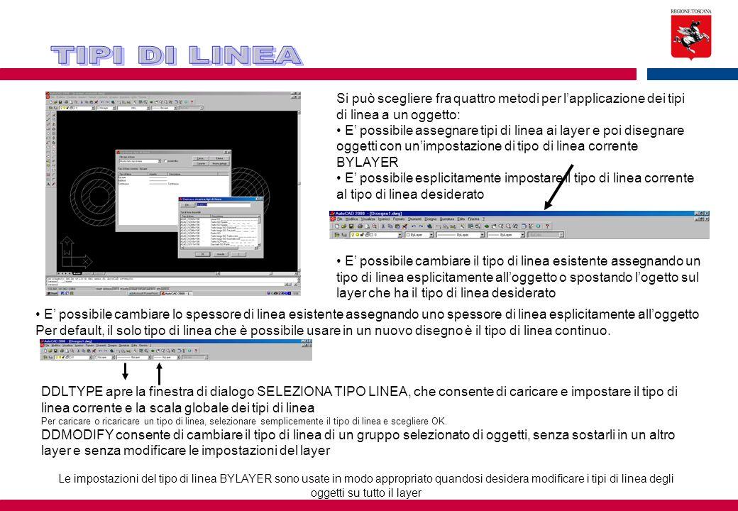 Si può scegliere fra quattro metodi per l'applicazione dei tipi di linea a un oggetto: E' possibile assegnare tipi di linea ai layer e poi disegnare o
