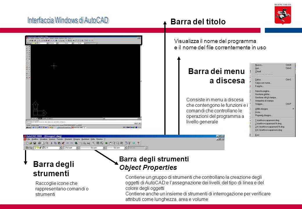Barra del titolo Visualizza il nome del programma e il nome del file correntemente in uso Barra dei menu a discesa Consiste in menu a discesa che cont