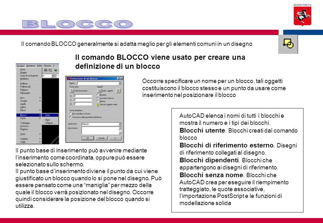 Il comando BLOCCO generalmente si adatta meglio per gli elementi comuni in un disegno Il comando BLOCCO viene usato per creare una definizione di un b