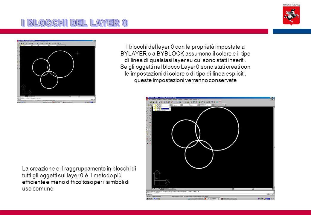 I blocchi del layer 0 con le proprietà impostate a BYLAYER o a BYBLOCK assumono il colore e il tipo di linea di qualsiasi layer su cui sono stati inse