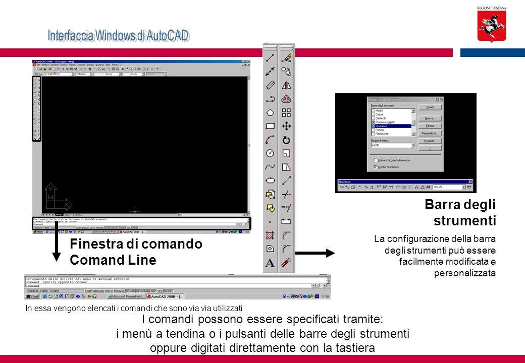 Finestra di comando Comand Line Barra degli strumenti La configurazione della barra degli strumenti può essere facilmente modificata e personalizzata