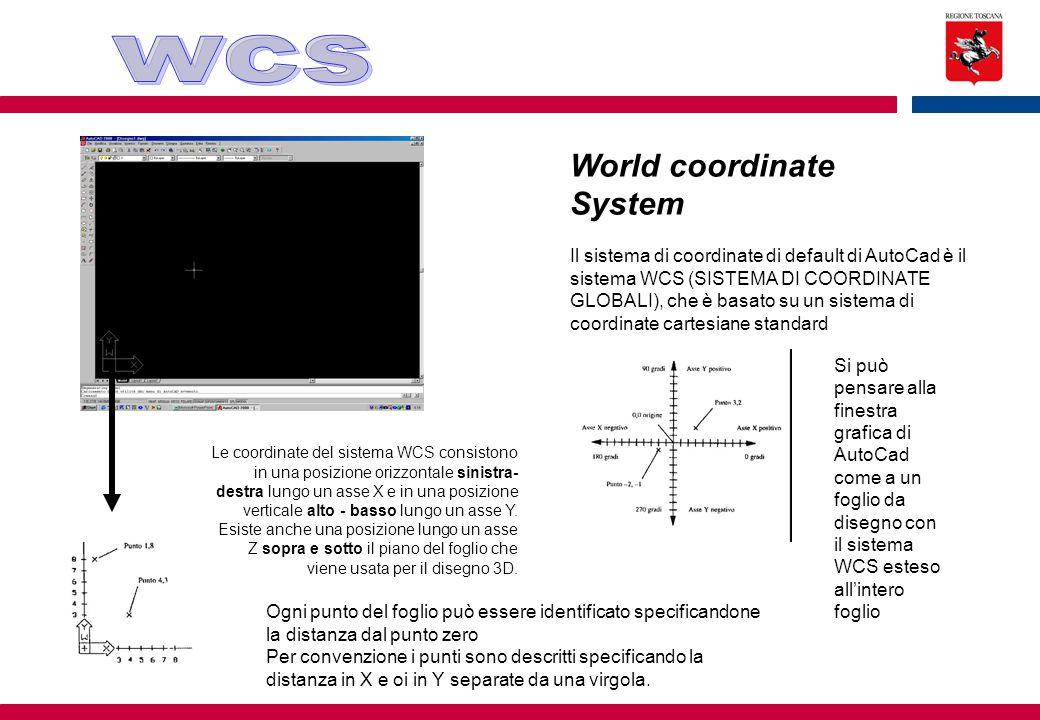 World coordinate System Il sistema di coordinate di default di AutoCad è il sistema WCS (SISTEMA DI COORDINATE GLOBALI), che è basato su un sistema di