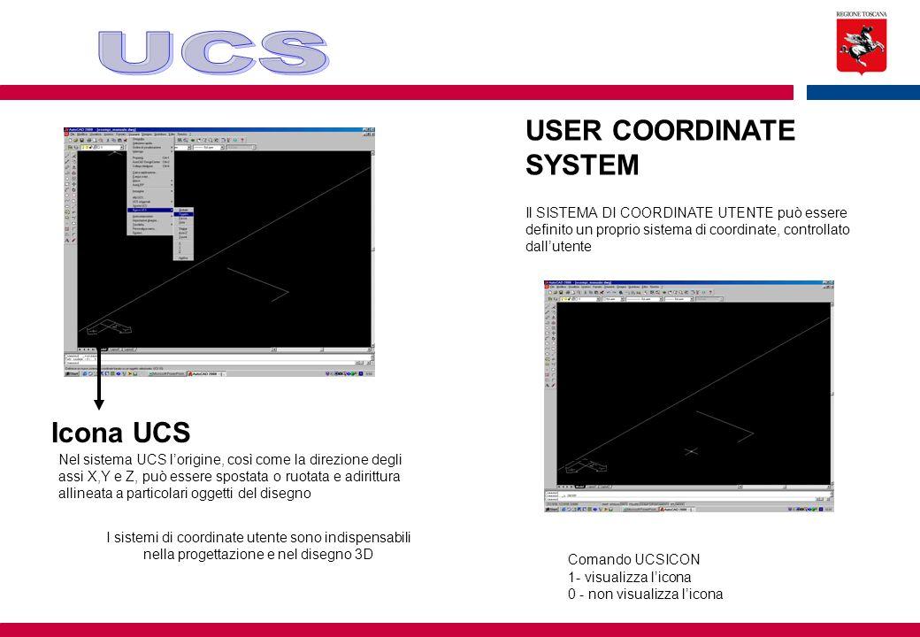 USER COORDINATE SYSTEM Il SISTEMA DI COORDINATE UTENTE può essere definito un proprio sistema di coordinate, controllato dall'utente Icona UCS Nel sis