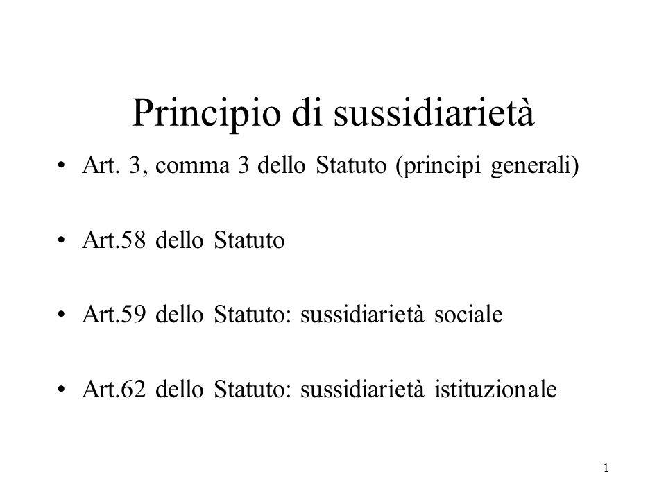1 Principio di sussidiarietà Art.