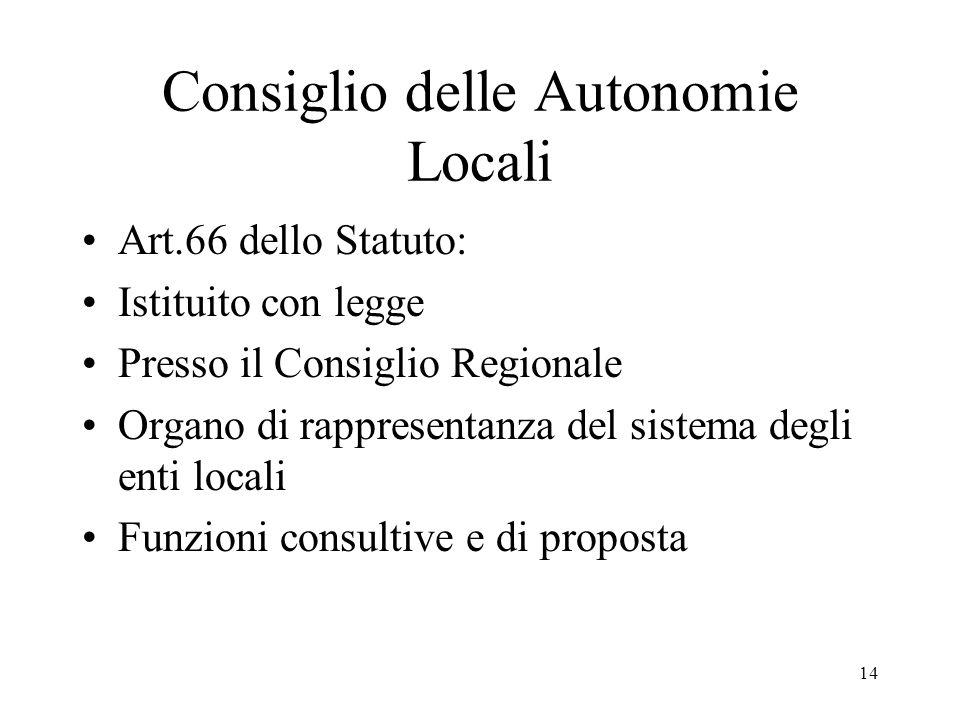 14 Consiglio delle Autonomie Locali Art.66 dello Statuto: Istituito con legge Presso il Consiglio Regionale Organo di rappresentanza del sistema degli enti locali Funzioni consultive e di proposta