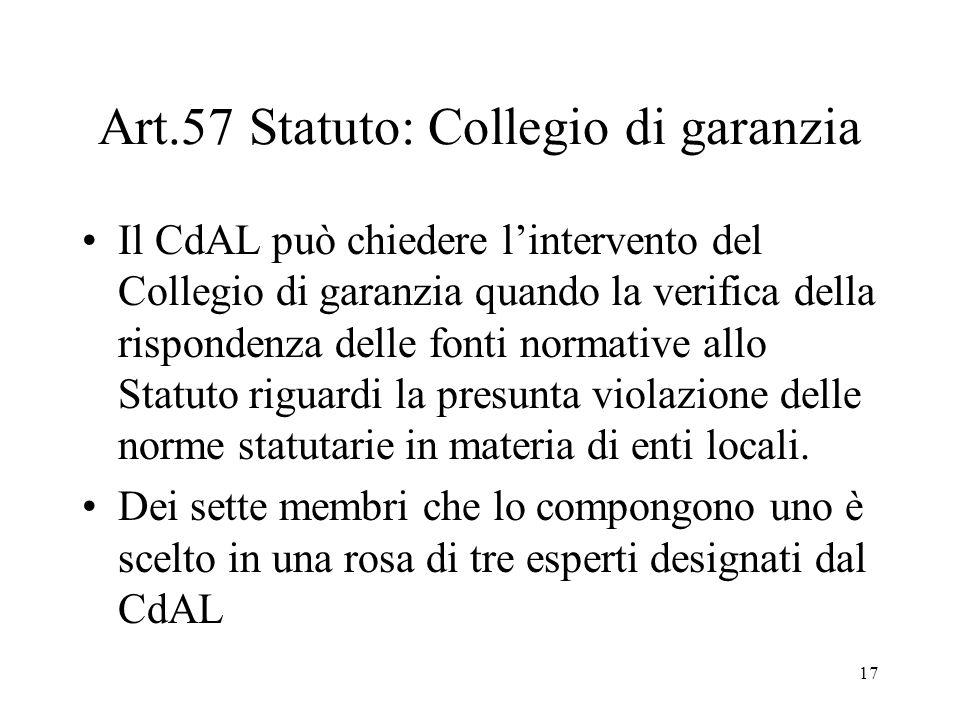 17 Art.57 Statuto: Collegio di garanzia Il CdAL può chiedere l'intervento del Collegio di garanzia quando la verifica della rispondenza delle fonti normative allo Statuto riguardi la presunta violazione delle norme statutarie in materia di enti locali.