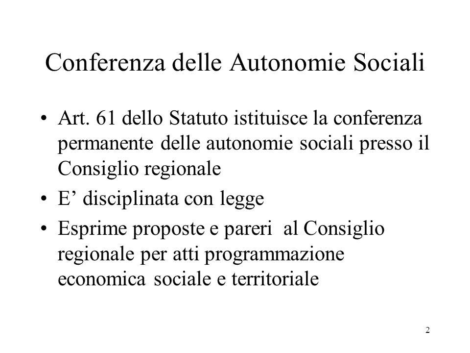 2 Conferenza delle Autonomie Sociali Art.