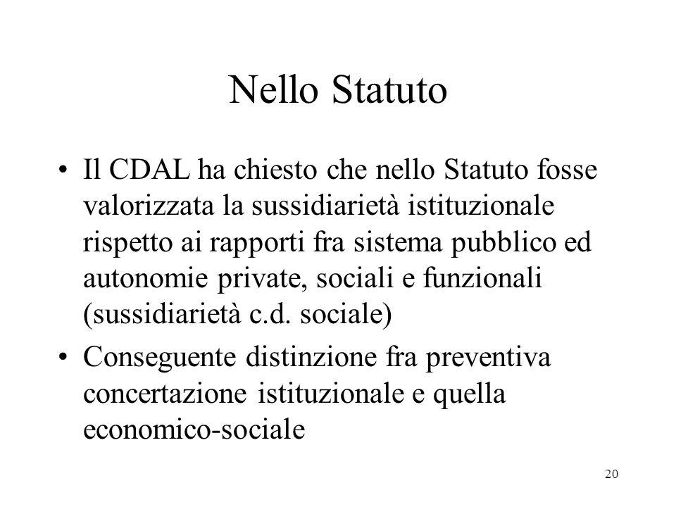 20 Nello Statuto Il CDAL ha chiesto che nello Statuto fosse valorizzata la sussidiarietà istituzionale rispetto ai rapporti fra sistema pubblico ed autonomie private, sociali e funzionali (sussidiarietà c.d.