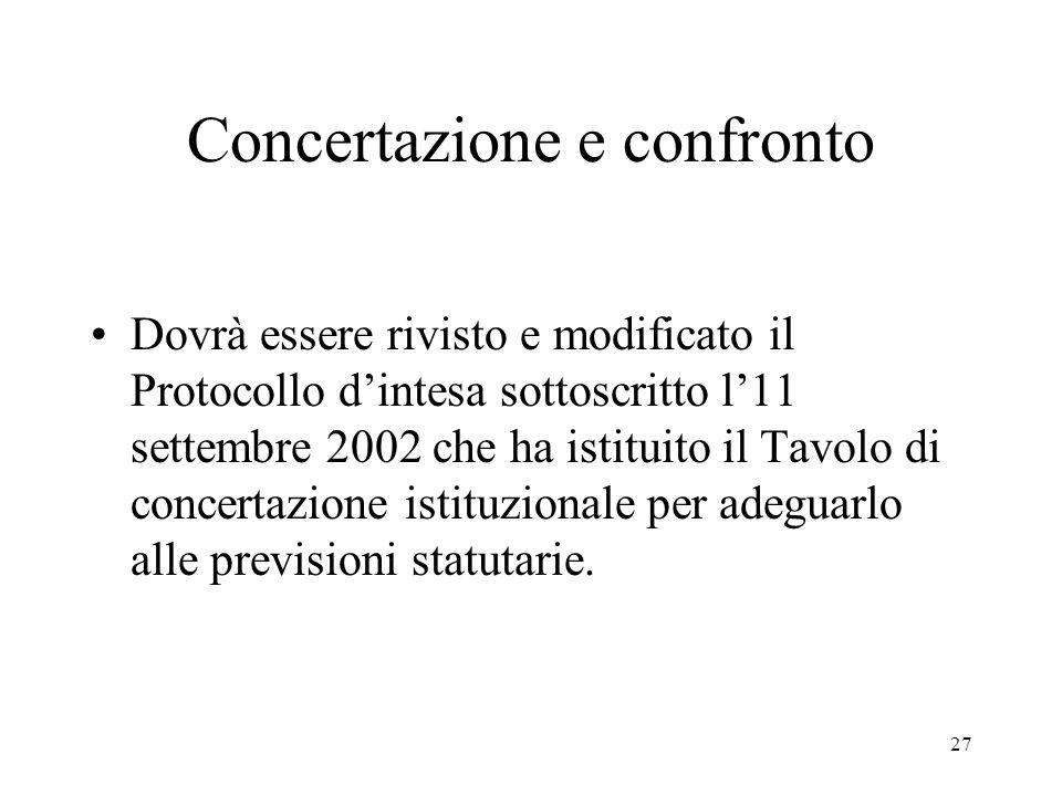 27 Concertazione e confronto Dovrà essere rivisto e modificato il Protocollo d'intesa sottoscritto l'11 settembre 2002 che ha istituito il Tavolo di concertazione istituzionale per adeguarlo alle previsioni statutarie.