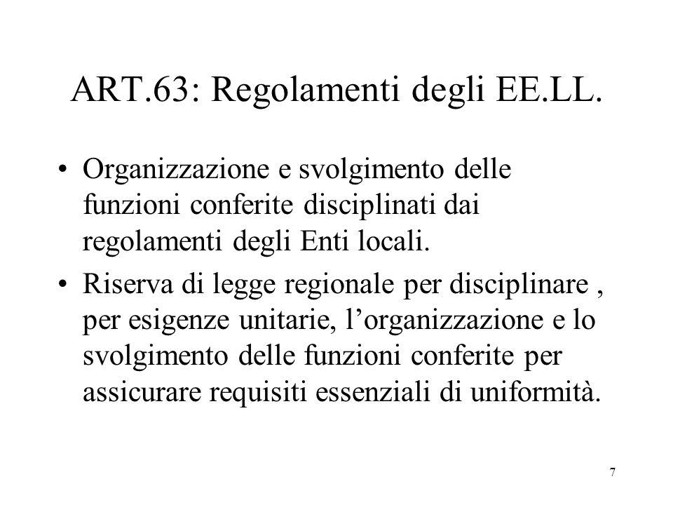 7 ART.63: Regolamenti degli EE.LL.