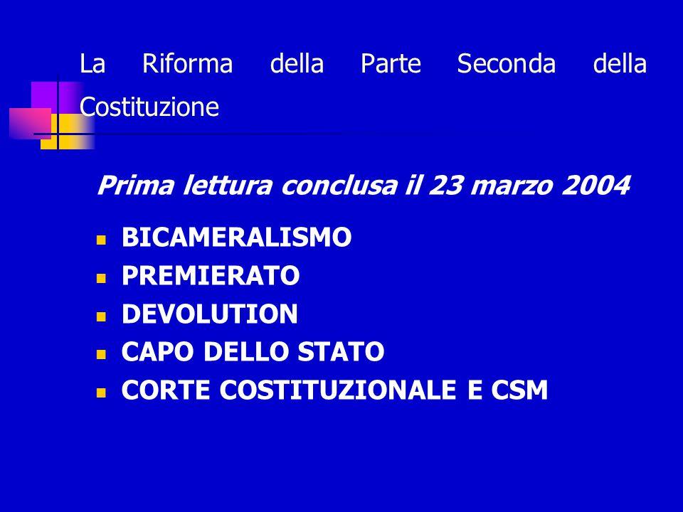 La Riforma della Parte Seconda della Costituzione Prima lettura conclusa il 23 marzo 2004 BICAMERALISMO PREMIERATO DEVOLUTION CAPO DELLO STATO CORTE COSTITUZIONALE E CSM