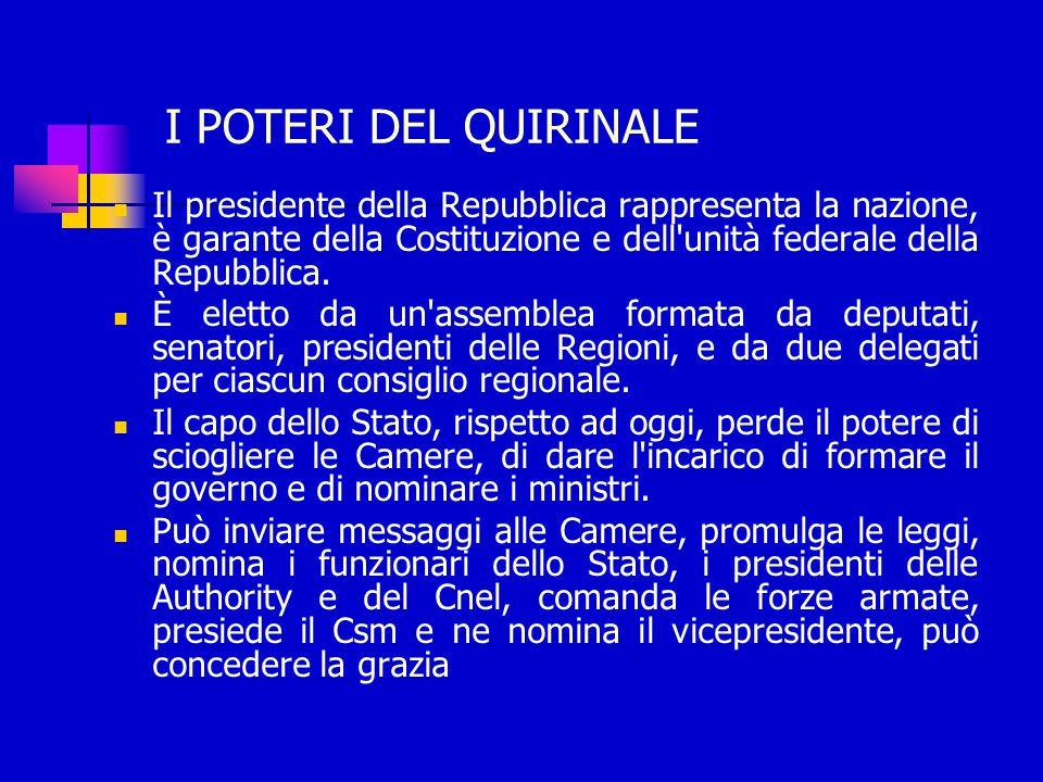 I POTERI DEL QUIRINALE Il presidente della Repubblica rappresenta la nazione, è garante della Costituzione e dell unità federale della Repubblica.