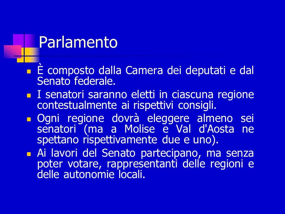 Parlamento È composto dalla Camera dei deputati e dal Senato federale.