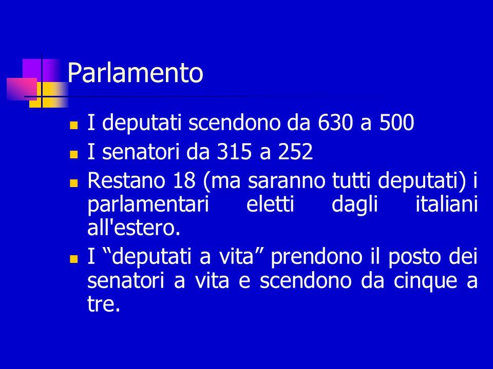 Parlamento I deputati scendono da 630 a 500 I senatori da 315 a 252 Restano 18 (ma saranno tutti deputati) i parlamentari eletti dagli italiani all estero.