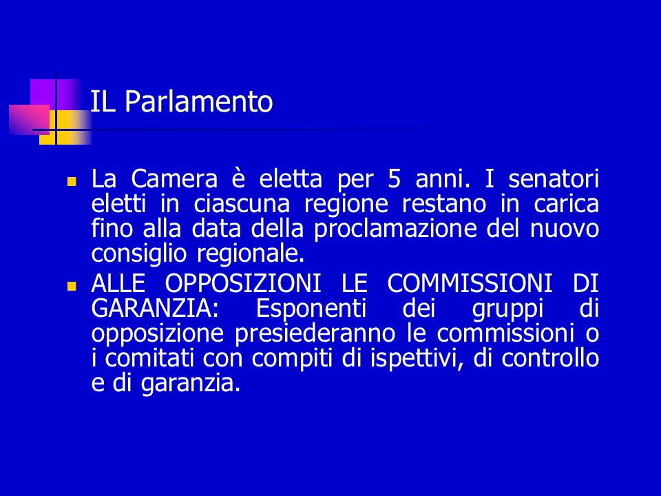 IL Parlamento La Camera è eletta per 5 anni.